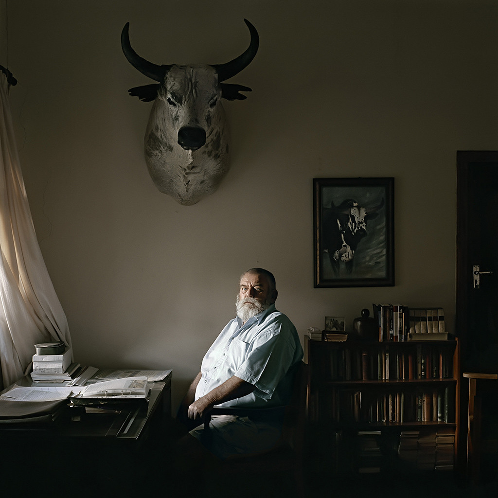 Ben Fyfer, an Nguni cattle farmer, at his desk. Louwna, North West Province, 2 March 2010